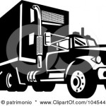 104544-Royalty-Free-RF-Clipart-Illustration-Of-A-Black-And-White-Driving-Big-Rig-Truck